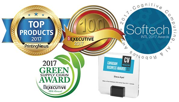 Amazing Print | Best 100 Supply Chain Transformations & Projects 2017, Printing News TOP PRODUCTS 2017 Award for Top Web-To-Print Software, Softech 2017 Cognitive Computing AI and Robotics Awards